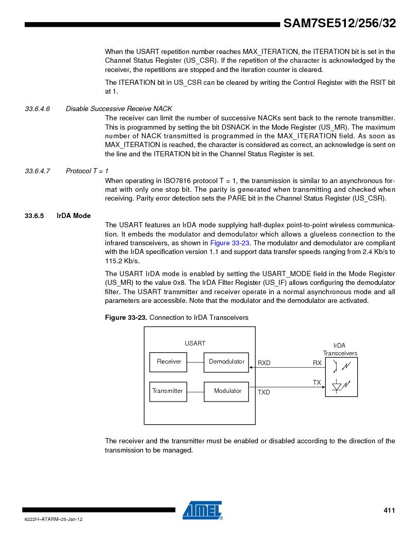 AT91SAM7SE256B-CUR ,Atmel厂商,IC ARM7 MCU FLASH 256K 128-LQFP, AT91SAM7SE256B-CUR datasheet预览  第411页