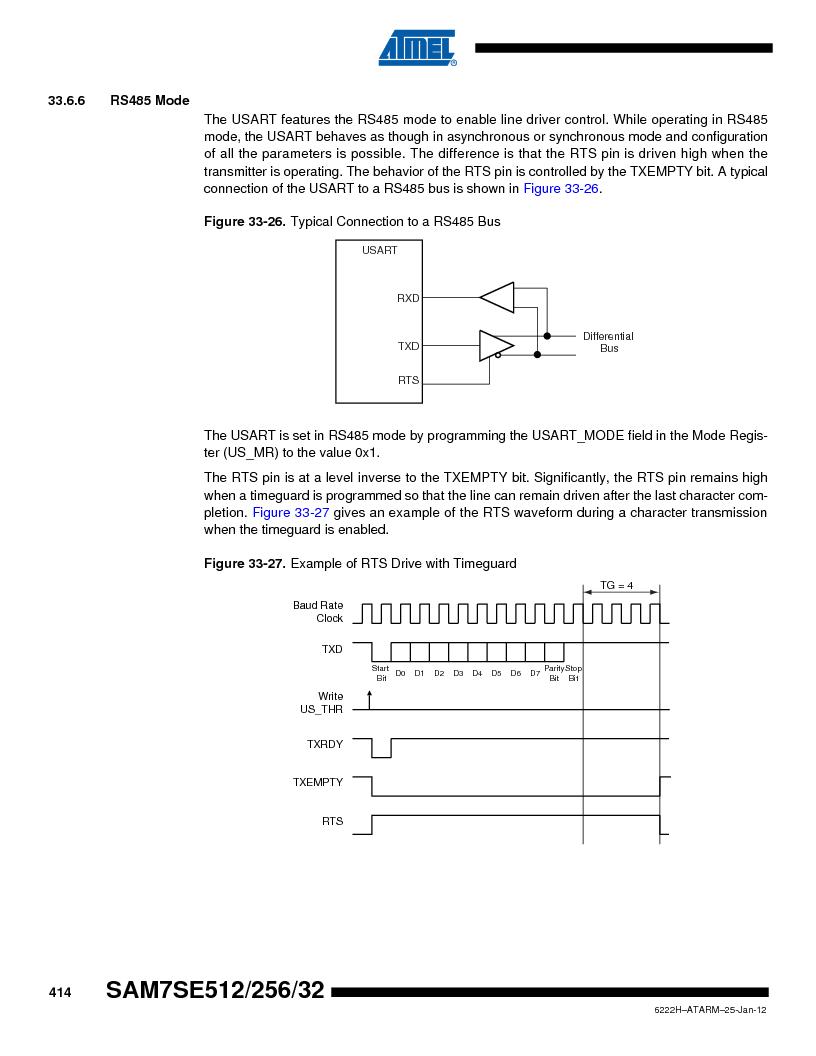 AT91SAM7SE256B-CUR ,Atmel厂商,IC ARM7 MCU FLASH 256K 128-LQFP, AT91SAM7SE256B-CUR datasheet预览  第414页