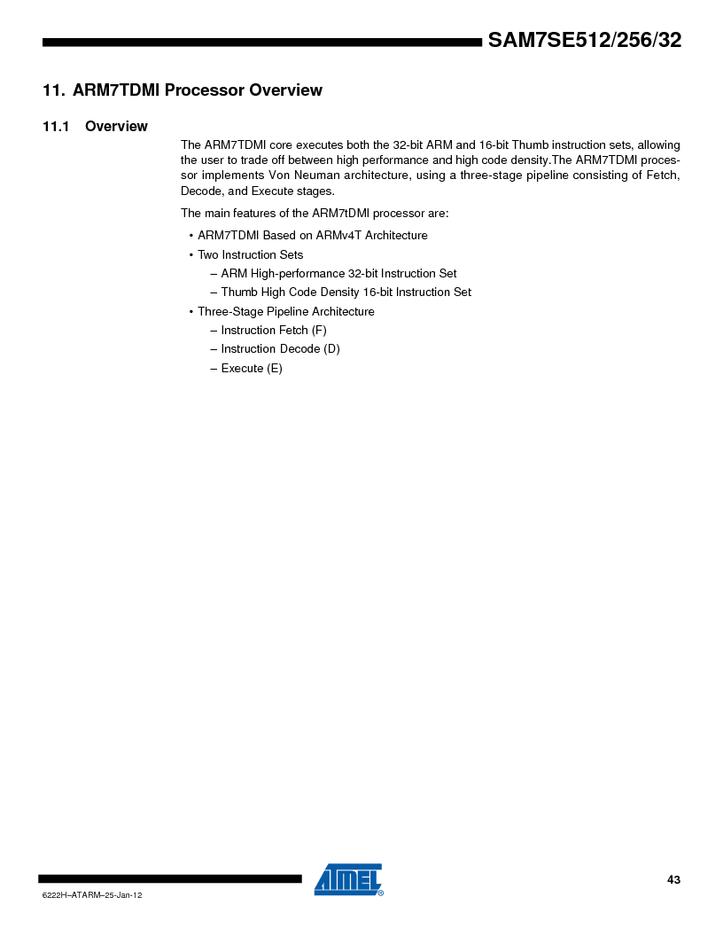 AT91SAM7SE256B-CUR ,Atmel厂商,IC ARM7 MCU FLASH 256K 128-LQFP, AT91SAM7SE256B-CUR datasheet预览  第43页