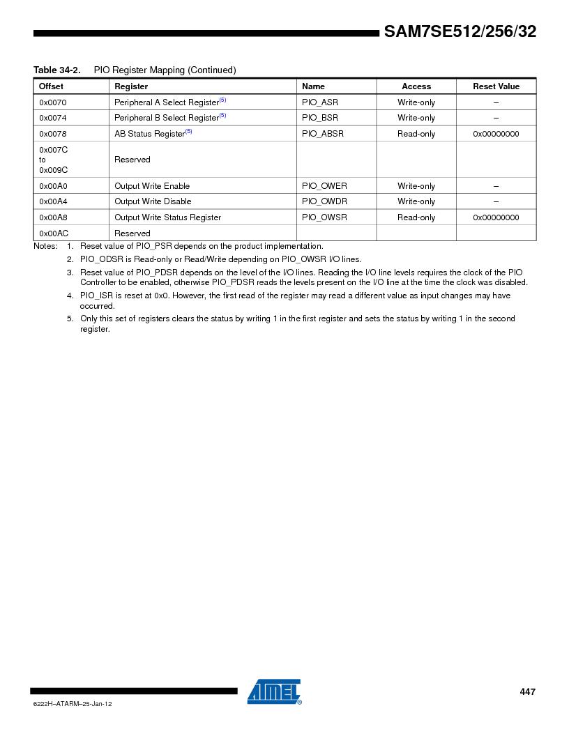 AT91SAM7SE256B-CUR ,Atmel厂商,IC ARM7 MCU FLASH 256K 128-LQFP, AT91SAM7SE256B-CUR datasheet预览  第447页