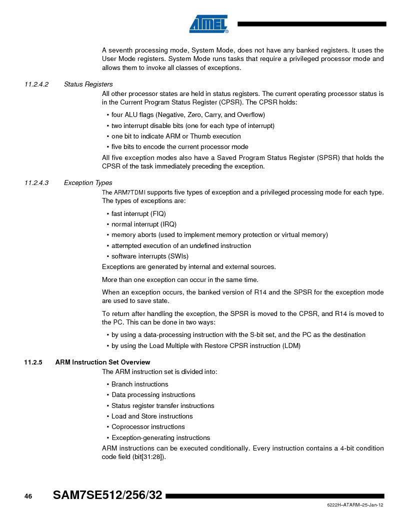 AT91SAM7SE256B-CUR ,Atmel厂商,IC ARM7 MCU FLASH 256K 128-LQFP, AT91SAM7SE256B-CUR datasheet预览  第46页