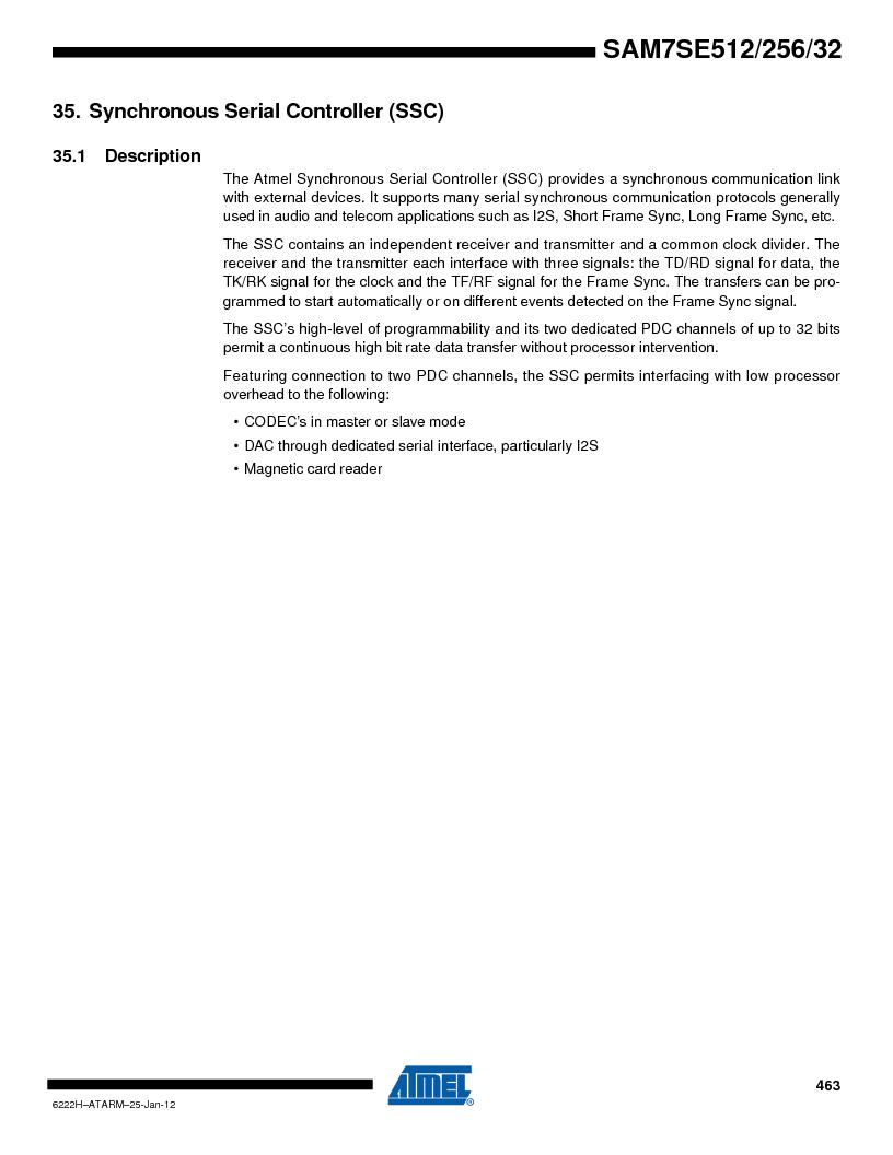 AT91SAM7SE256B-CUR ,Atmel厂商,IC ARM7 MCU FLASH 256K 128-LQFP, AT91SAM7SE256B-CUR datasheet预览  第463页