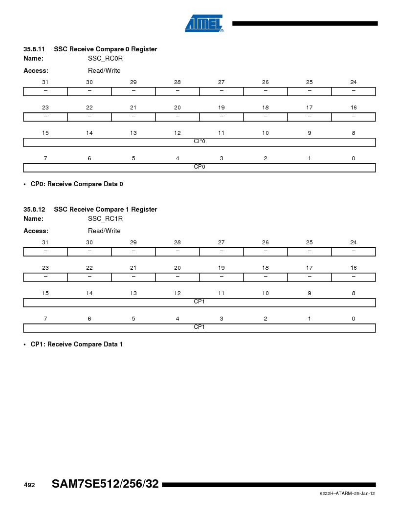 AT91SAM7SE256B-CUR ,Atmel厂商,IC ARM7 MCU FLASH 256K 128-LQFP, AT91SAM7SE256B-CUR datasheet预览  第492页