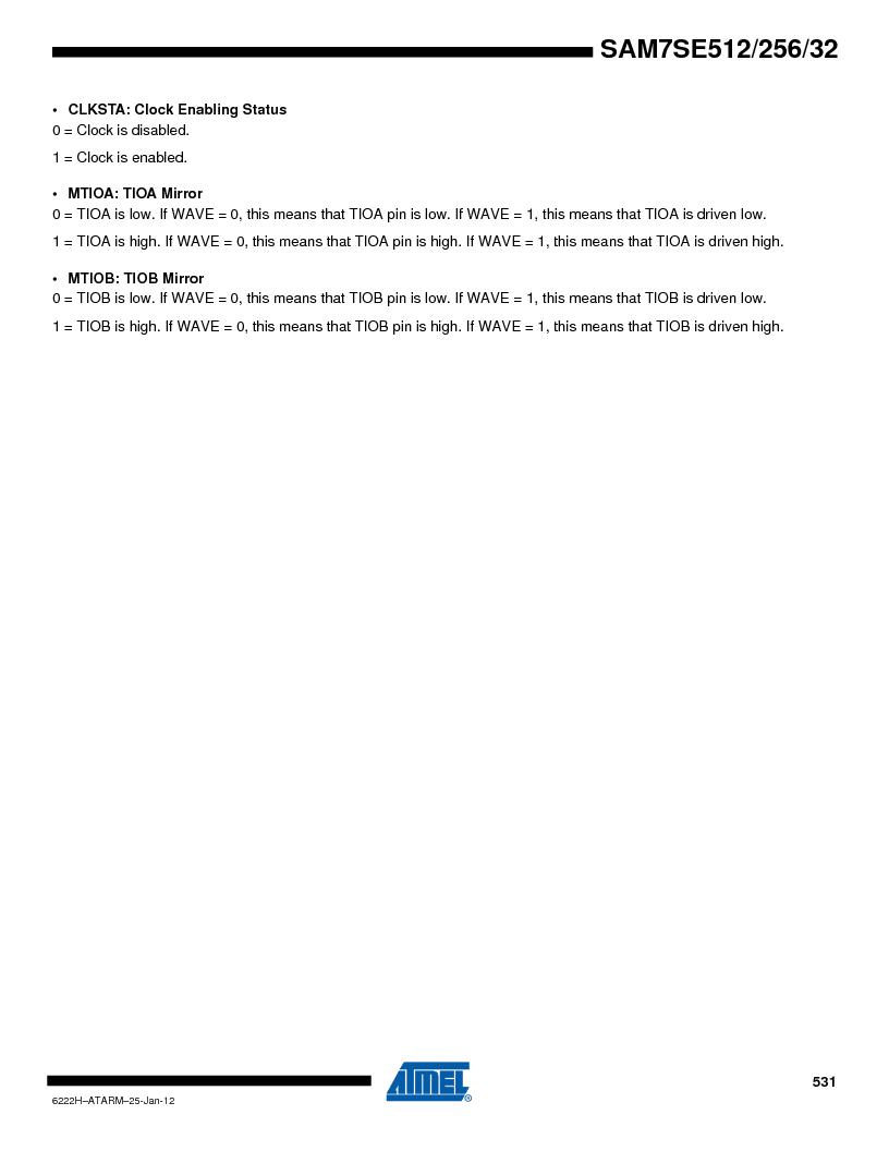 AT91SAM7SE256B-CUR ,Atmel厂商,IC ARM7 MCU FLASH 256K 128-LQFP, AT91SAM7SE256B-CUR datasheet预览  第531页