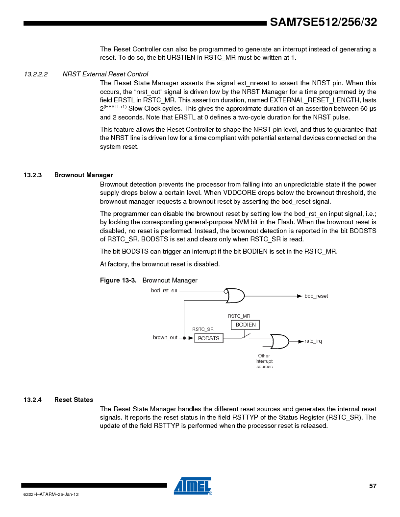 AT91SAM7SE256B-CUR ,Atmel厂商,IC ARM7 MCU FLASH 256K 128-LQFP, AT91SAM7SE256B-CUR datasheet预览  第57页