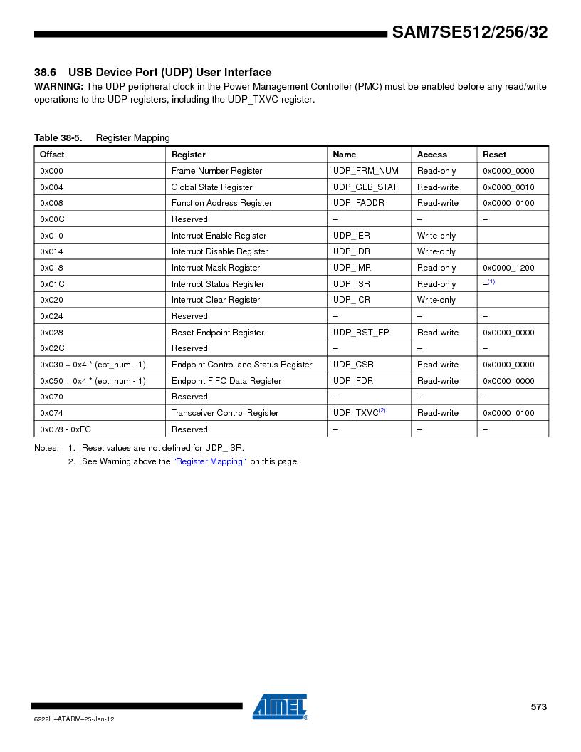 AT91SAM7SE256B-CUR ,Atmel厂商,IC ARM7 MCU FLASH 256K 128-LQFP, AT91SAM7SE256B-CUR datasheet预览  第573页