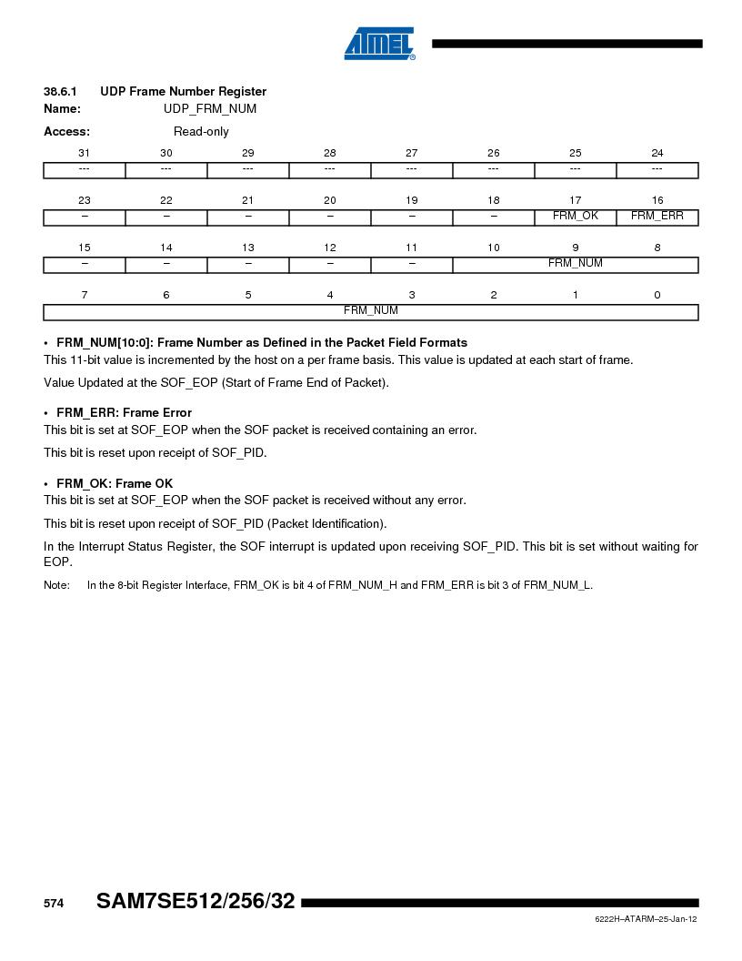AT91SAM7SE256B-CUR ,Atmel厂商,IC ARM7 MCU FLASH 256K 128-LQFP, AT91SAM7SE256B-CUR datasheet预览  第574页