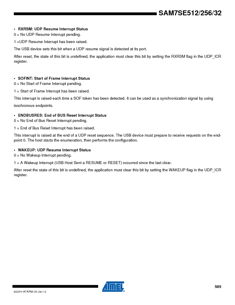 AT91SAM7SE256B-CUR ,Atmel厂商,IC ARM7 MCU FLASH 256K 128-LQFP, AT91SAM7SE256B-CUR datasheet预览  第585页