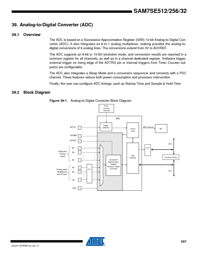 AT91SAM7SE256B-CUR ,Atmel厂商,IC ARM7 MCU FLASH 256K 128-LQFP, AT91SAM7SE256B-CUR datasheet预览  第597页