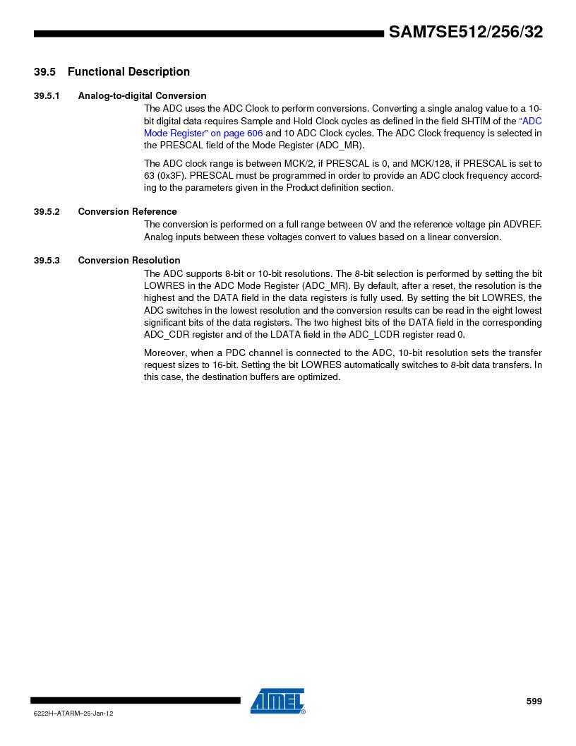 AT91SAM7SE256B-CUR ,Atmel厂商,IC ARM7 MCU FLASH 256K 128-LQFP, AT91SAM7SE256B-CUR datasheet预览  第599页