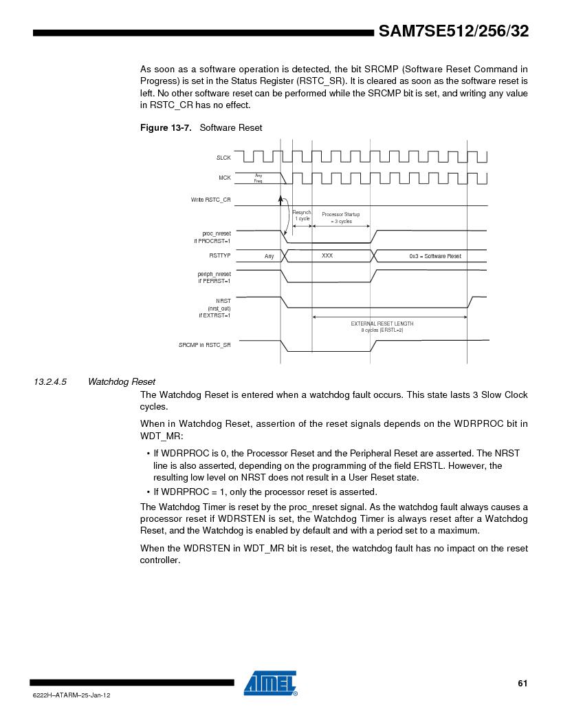 AT91SAM7SE256B-CUR ,Atmel厂商,IC ARM7 MCU FLASH 256K 128-LQFP, AT91SAM7SE256B-CUR datasheet预览  第61页
