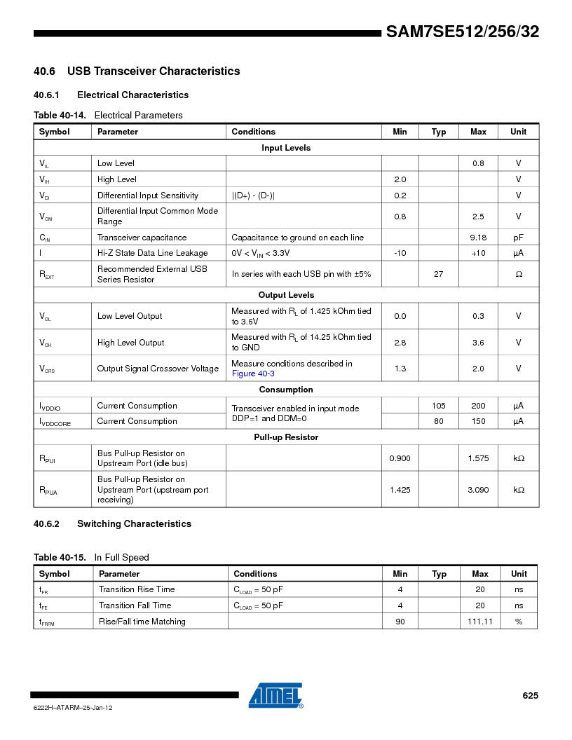 AT91SAM7SE256B-CUR ,Atmel厂商,IC ARM7 MCU FLASH 256K 128-LQFP, AT91SAM7SE256B-CUR datasheet预览  第625页