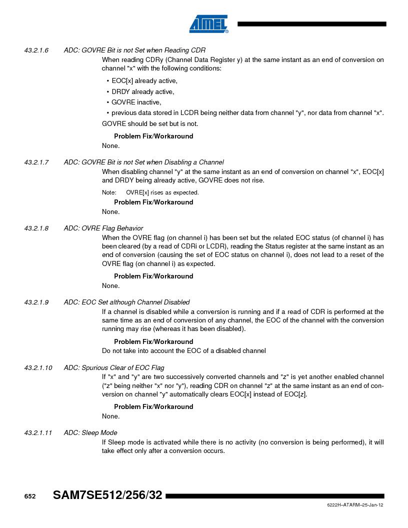 AT91SAM7SE256B-CUR ,Atmel厂商,IC ARM7 MCU FLASH 256K 128-LQFP, AT91SAM7SE256B-CUR datasheet预览  第652页