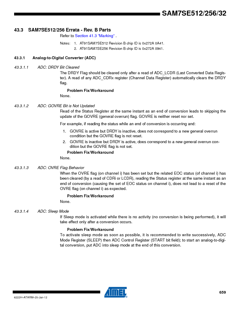 AT91SAM7SE256B-CUR ,Atmel厂商,IC ARM7 MCU FLASH 256K 128-LQFP, AT91SAM7SE256B-CUR datasheet预览  第659页