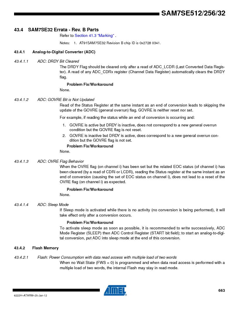 AT91SAM7SE256B-CUR ,Atmel厂商,IC ARM7 MCU FLASH 256K 128-LQFP, AT91SAM7SE256B-CUR datasheet预览  第663页