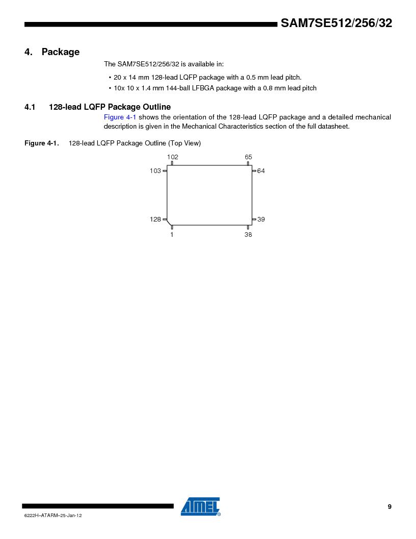 AT91SAM7SE256B-CUR ,Atmel厂商,IC ARM7 MCU FLASH 256K 128-LQFP, AT91SAM7SE256B-CUR datasheet预览  第9页