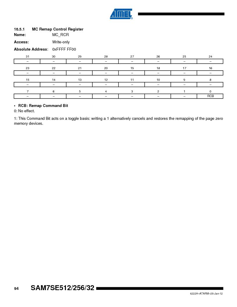 AT91SAM7SE256B-CUR ,Atmel厂商,IC ARM7 MCU FLASH 256K 128-LQFP, AT91SAM7SE256B-CUR datasheet预览  第94页