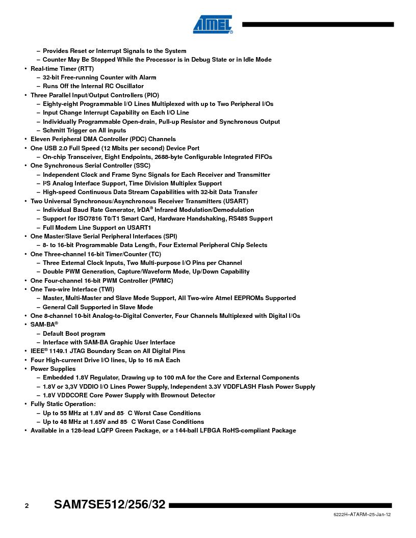 AT91SAM7SE512B-CUR ,Atmel厂商,IC ARM7 MUC FLASH 512K 144-LFBGA, AT91SAM7SE512B-CUR datasheet预览  第2页