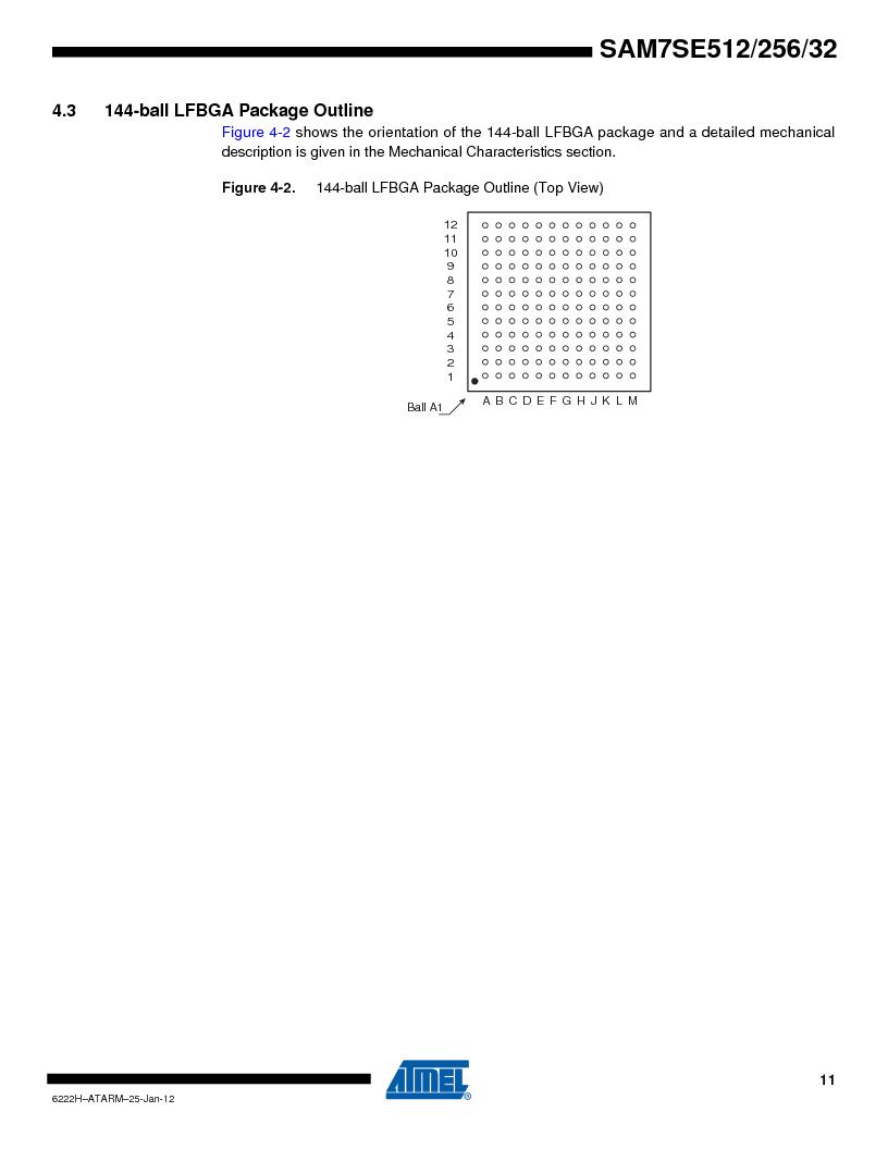 AT91SAM7SE512B-CUR ,Atmel厂商,IC ARM7 MUC FLASH 512K 144-LFBGA, AT91SAM7SE512B-CUR datasheet预览  第11页