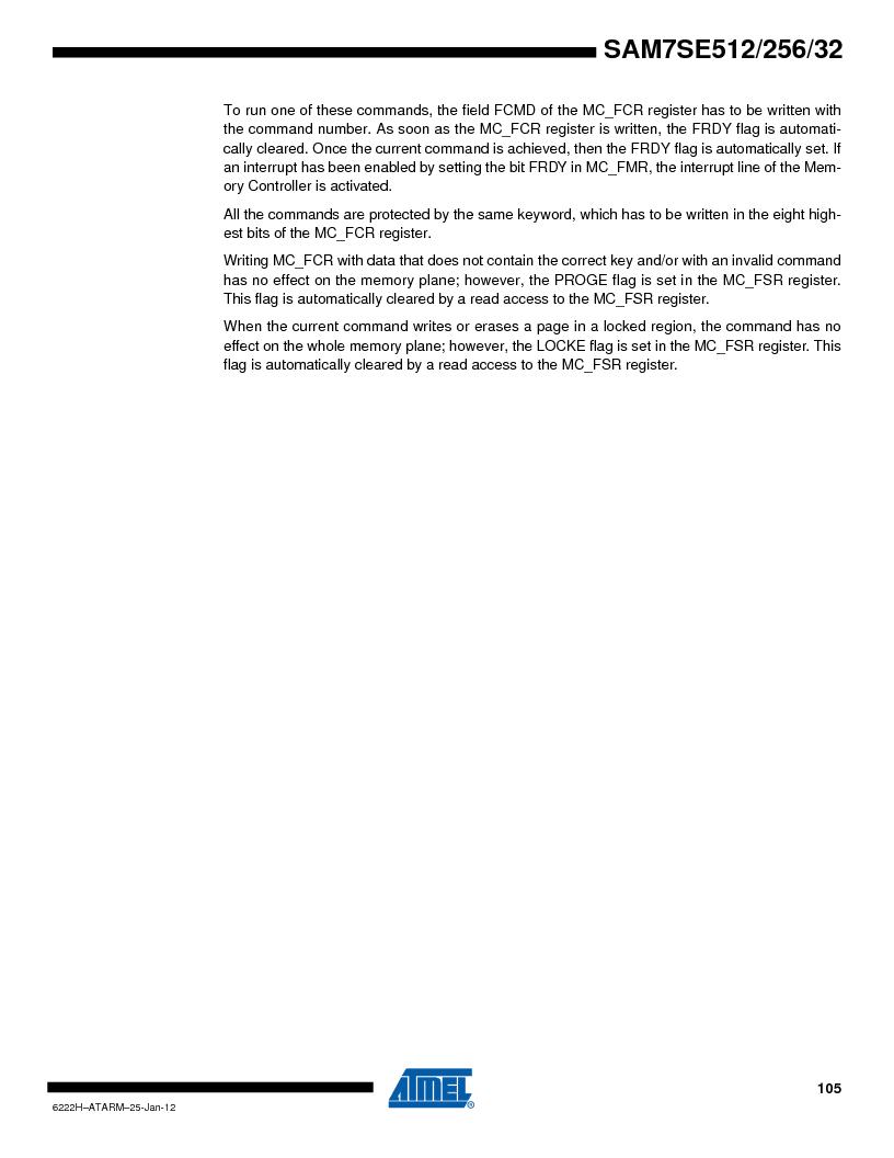 AT91SAM7SE512B-CUR ,Atmel厂商,IC ARM7 MUC FLASH 512K 144-LFBGA, AT91SAM7SE512B-CUR datasheet预览  第105页