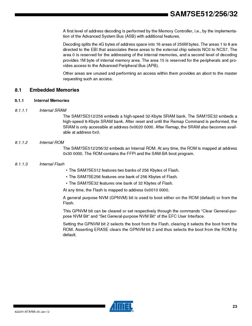 AT91SAM7SE512B-CUR ,Atmel厂商,IC ARM7 MUC FLASH 512K 144-LFBGA, AT91SAM7SE512B-CUR datasheet预览  第23页