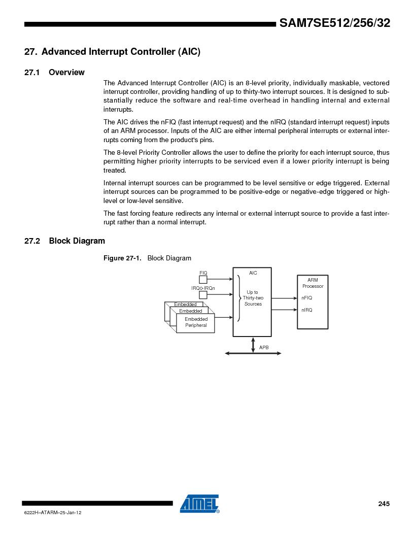AT91SAM7SE512B-CUR ,Atmel厂商,IC ARM7 MUC FLASH 512K 144-LFBGA, AT91SAM7SE512B-CUR datasheet预览  第245页