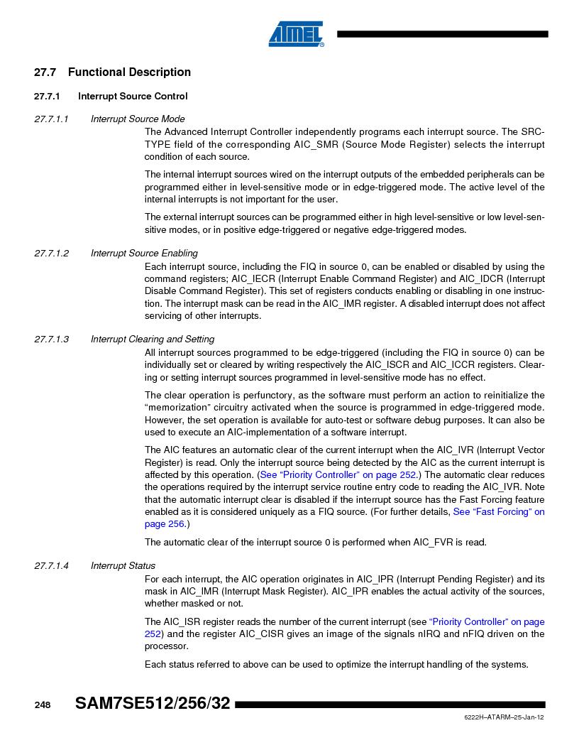 AT91SAM7SE512B-CUR ,Atmel厂商,IC ARM7 MUC FLASH 512K 144-LFBGA, AT91SAM7SE512B-CUR datasheet预览  第248页