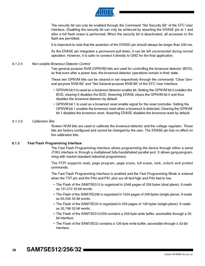 AT91SAM7SE512B-CUR ,Atmel厂商,IC ARM7 MUC FLASH 512K 144-LFBGA, AT91SAM7SE512B-CUR datasheet预览  第26页