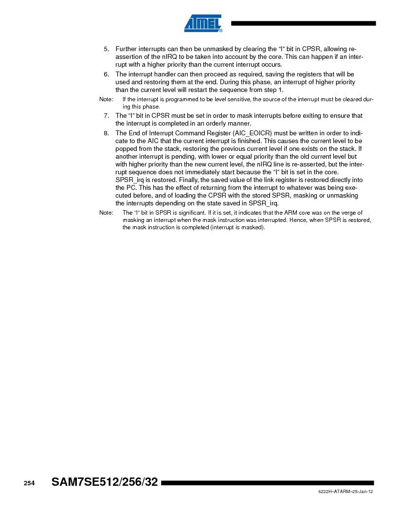 AT91SAM7SE512B-CUR ,Atmel厂商,IC ARM7 MUC FLASH 512K 144-LFBGA, AT91SAM7SE512B-CUR datasheet预览  第254页