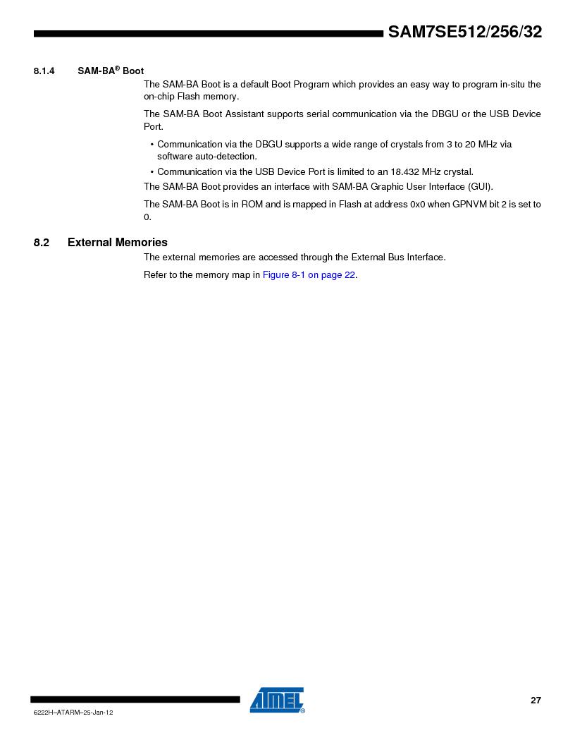 AT91SAM7SE512B-CUR ,Atmel厂商,IC ARM7 MUC FLASH 512K 144-LFBGA, AT91SAM7SE512B-CUR datasheet预览  第27页