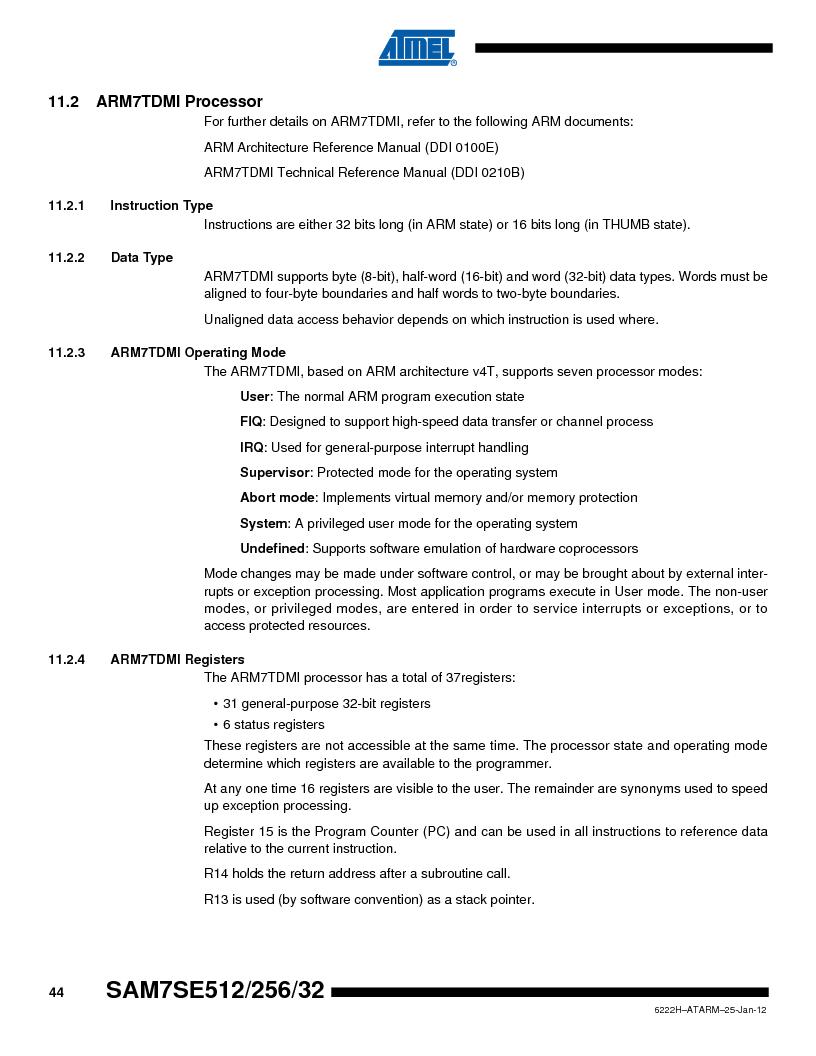 AT91SAM7SE512B-CUR ,Atmel厂商,IC ARM7 MUC FLASH 512K 144-LFBGA, AT91SAM7SE512B-CUR datasheet预览  第44页