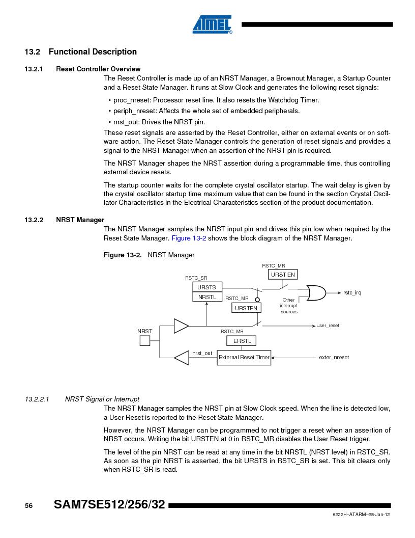 AT91SAM7SE512B-CUR ,Atmel厂商,IC ARM7 MUC FLASH 512K 144-LFBGA, AT91SAM7SE512B-CUR datasheet预览  第56页