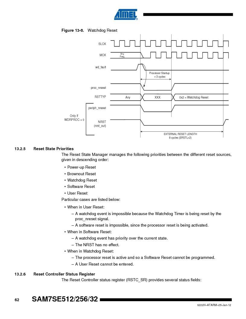 AT91SAM7SE512B-CUR ,Atmel厂商,IC ARM7 MUC FLASH 512K 144-LFBGA, AT91SAM7SE512B-CUR datasheet预览  第62页