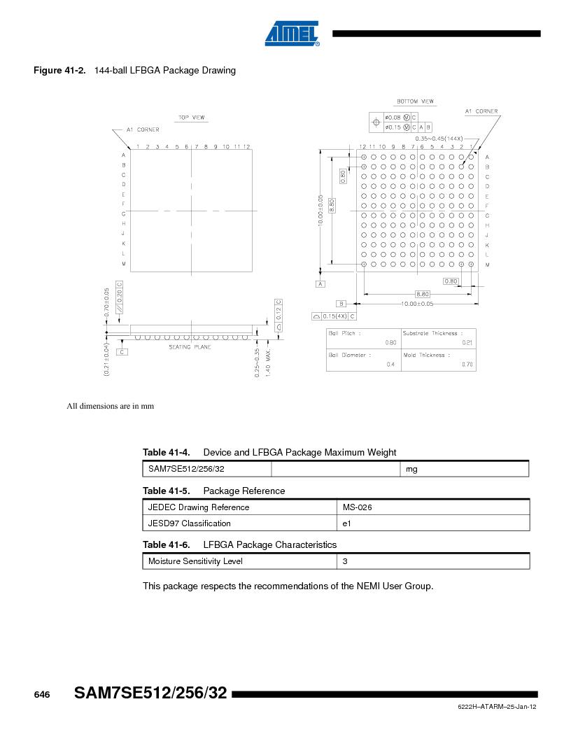 AT91SAM7SE512B-CUR ,Atmel厂商,IC ARM7 MUC FLASH 512K 144-LFBGA, AT91SAM7SE512B-CUR datasheet预览  第646页