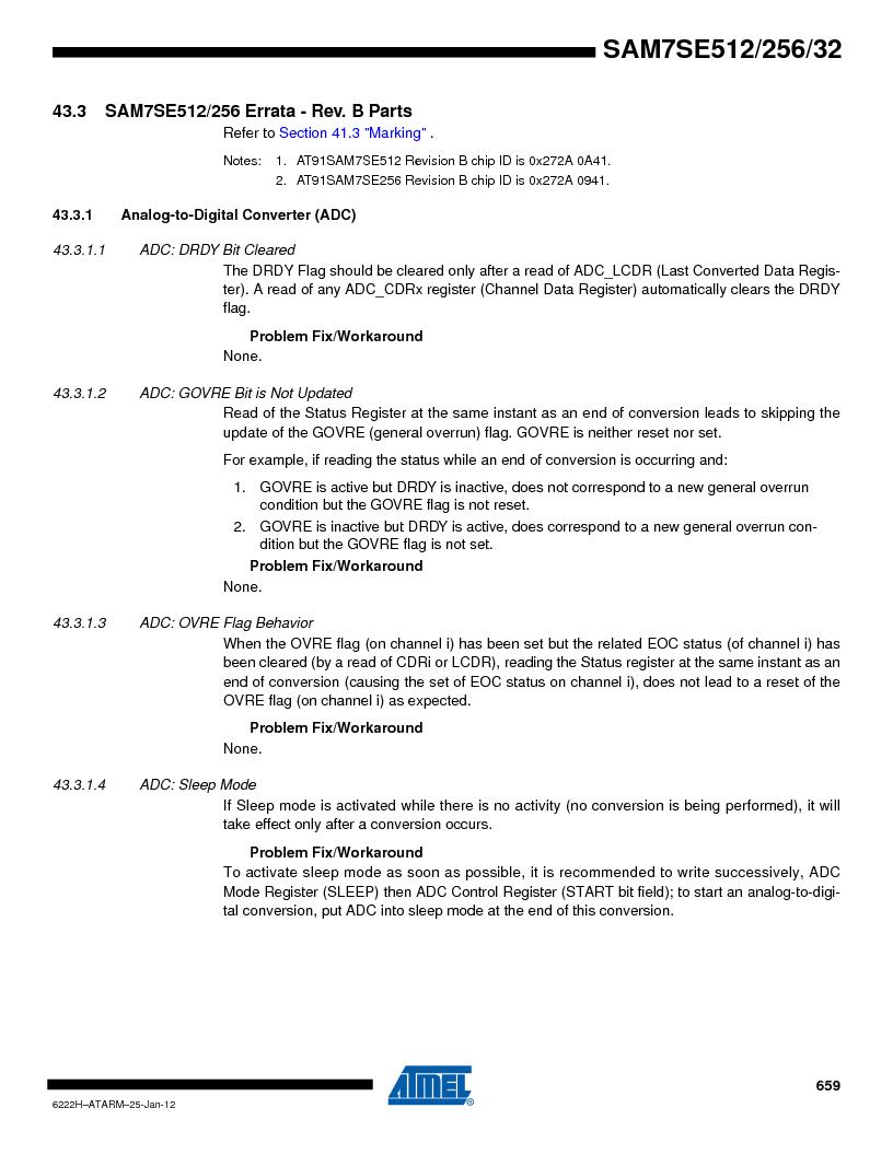 AT91SAM7SE512B-CUR ,Atmel厂商,IC ARM7 MUC FLASH 512K 144-LFBGA, AT91SAM7SE512B-CUR datasheet预览  第659页