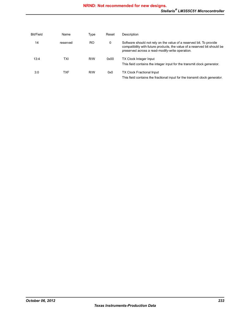 LM3S5C51-IBZ80-A1 ,Texas Instruments厂商,IC ARM CORTEX MCU 512KB 108NFBGA, LM3S5C51-IBZ80-A1 datasheet预览  第233页
