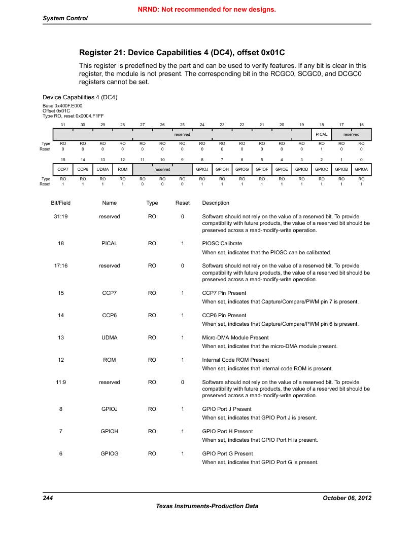 LM3S5C51-IBZ80-A1 ,Texas Instruments厂商,IC ARM CORTEX MCU 512KB 108NFBGA, LM3S5C51-IBZ80-A1 datasheet预览  第244页