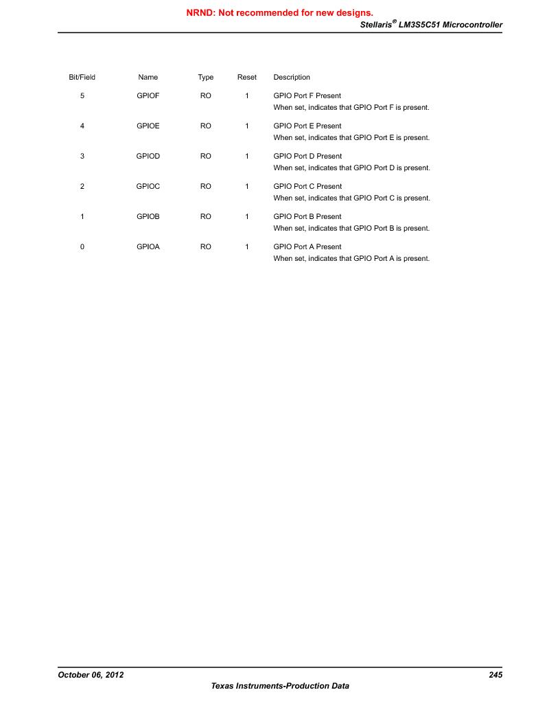 LM3S5C51-IBZ80-A1 ,Texas Instruments厂商,IC ARM CORTEX MCU 512KB 108NFBGA, LM3S5C51-IBZ80-A1 datasheet预览  第245页