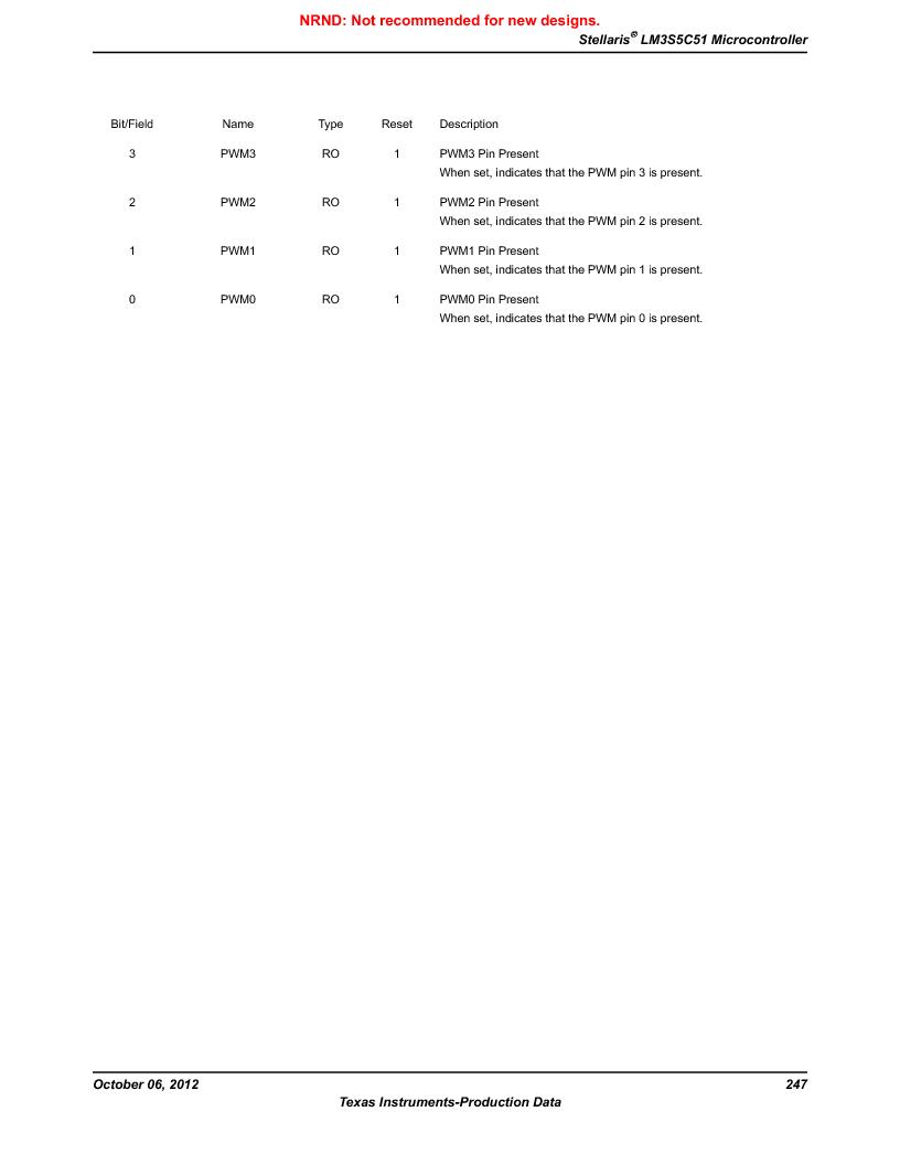 LM3S5C51-IBZ80-A1 ,Texas Instruments厂商,IC ARM CORTEX MCU 512KB 108NFBGA, LM3S5C51-IBZ80-A1 datasheet预览  第247页