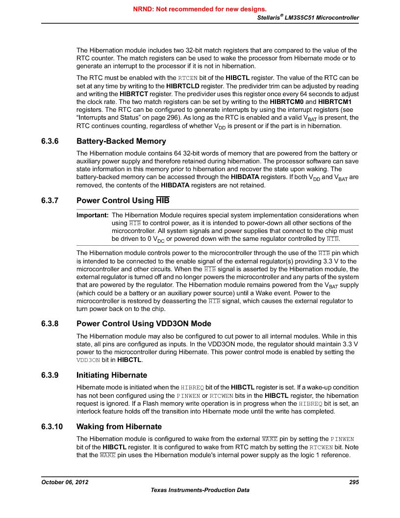 LM3S5C51-IBZ80-A1 ,Texas Instruments厂商,IC ARM CORTEX MCU 512KB 108NFBGA, LM3S5C51-IBZ80-A1 datasheet预览  第295页