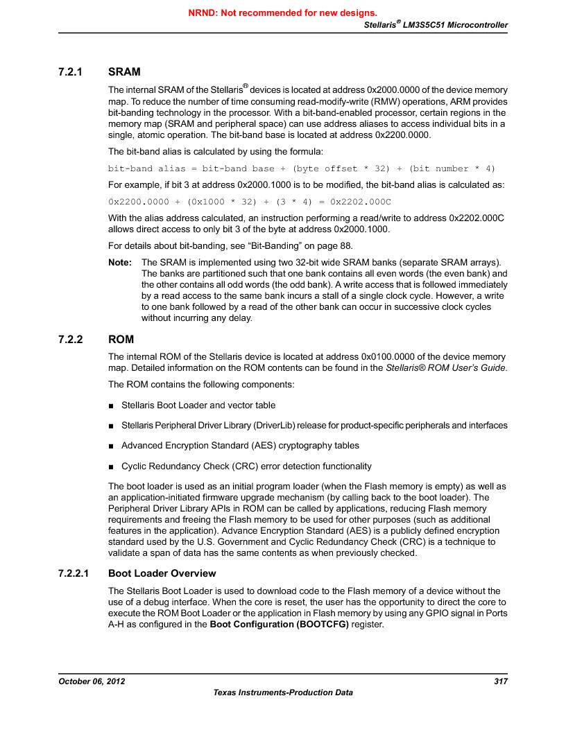 LM3S5C51-IBZ80-A1 ,Texas Instruments厂商,IC ARM CORTEX MCU 512KB 108NFBGA, LM3S5C51-IBZ80-A1 datasheet预览  第317页