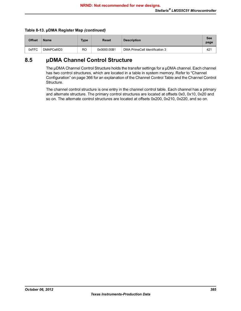 LM3S5C51-IBZ80-A1 ,Texas Instruments厂商,IC ARM CORTEX MCU 512KB 108NFBGA, LM3S5C51-IBZ80-A1 datasheet预览  第385页