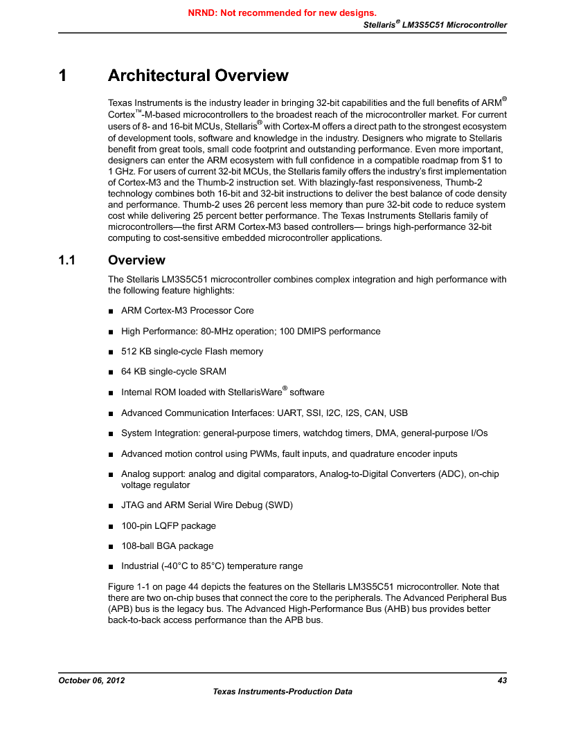 LM3S5C51-IBZ80-A1 ,Texas Instruments厂商,IC ARM CORTEX MCU 512KB 108NFBGA, LM3S5C51-IBZ80-A1 datasheet预览  第43页