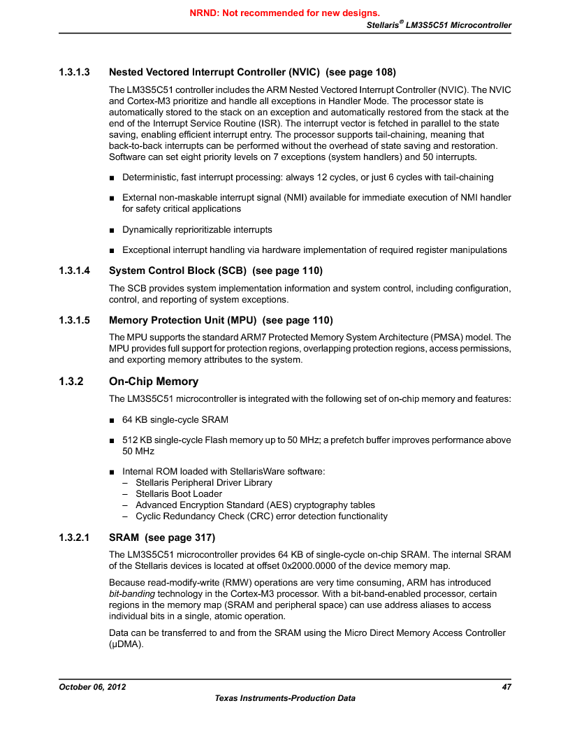 LM3S5C51-IBZ80-A1 ,Texas Instruments厂商,IC ARM CORTEX MCU 512KB 108NFBGA, LM3S5C51-IBZ80-A1 datasheet预览  第47页