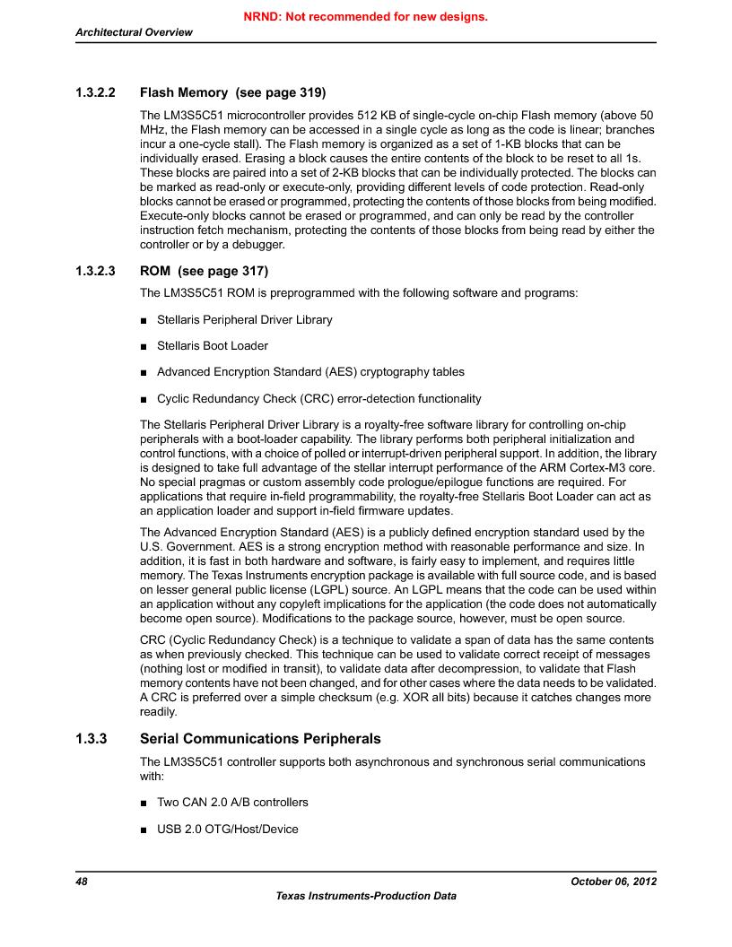 LM3S5C51-IBZ80-A1 ,Texas Instruments厂商,IC ARM CORTEX MCU 512KB 108NFBGA, LM3S5C51-IBZ80-A1 datasheet预览  第48页