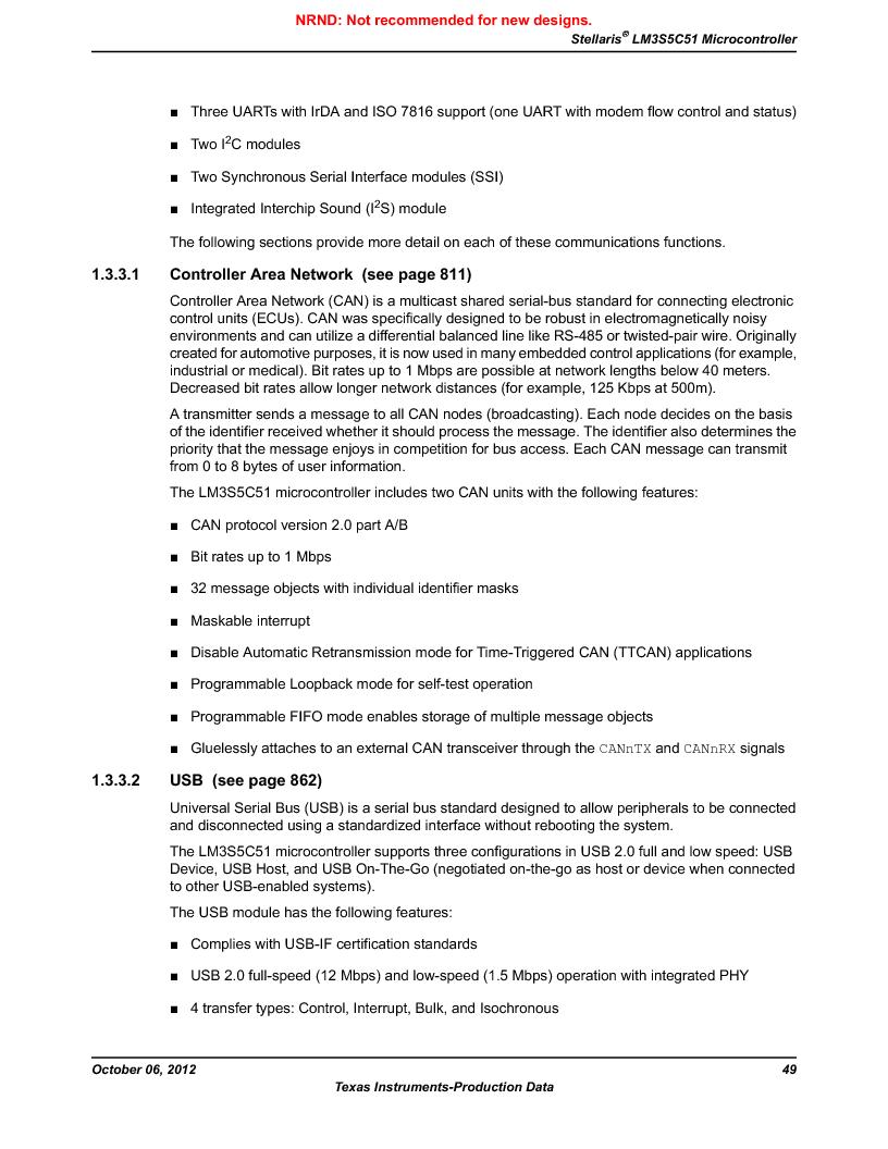 LM3S5C51-IBZ80-A1 ,Texas Instruments厂商,IC ARM CORTEX MCU 512KB 108NFBGA, LM3S5C51-IBZ80-A1 datasheet预览  第49页