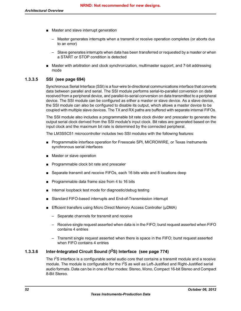 LM3S5C51-IBZ80-A1 ,Texas Instruments厂商,IC ARM CORTEX MCU 512KB 108NFBGA, LM3S5C51-IBZ80-A1 datasheet预览  第52页