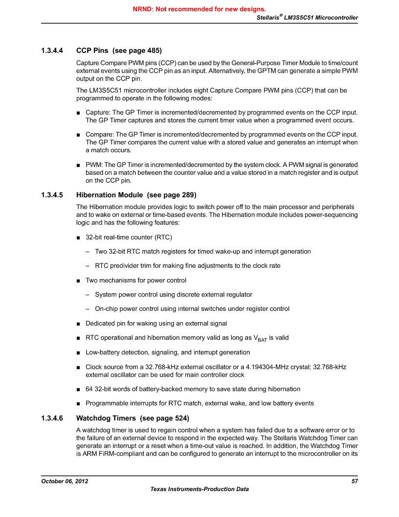 LM3S5C51-IBZ80-A1 ,Texas Instruments厂商,IC ARM CORTEX MCU 512KB 108NFBGA, LM3S5C51-IBZ80-A1 datasheet预览  第57页