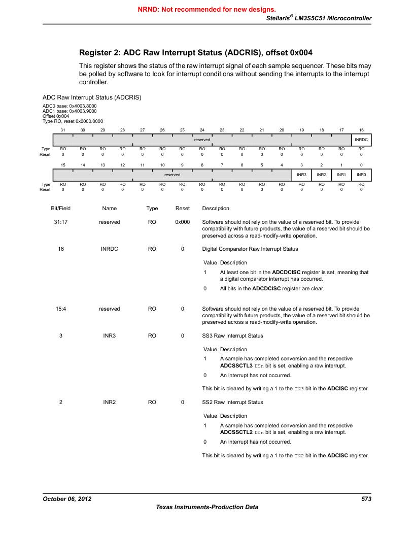 LM3S5C51-IBZ80-A1 ,Texas Instruments厂商,IC ARM CORTEX MCU 512KB 108NFBGA, LM3S5C51-IBZ80-A1 datasheet预览  第573页