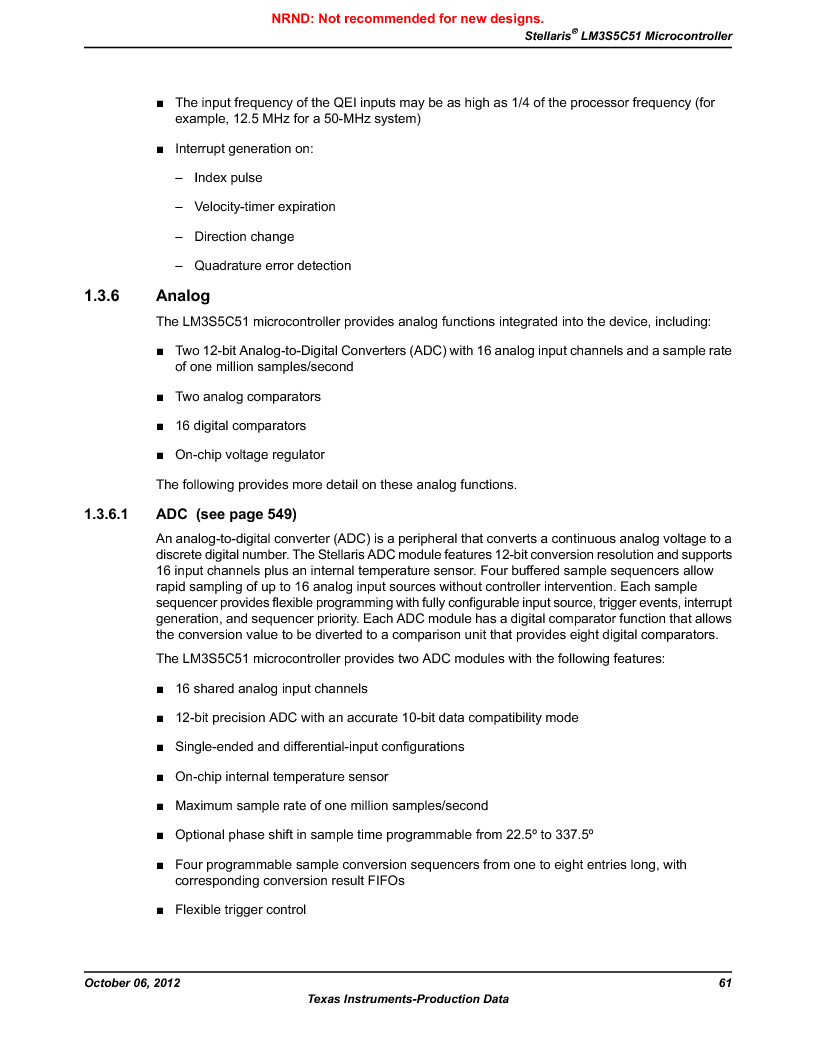 LM3S5C51-IBZ80-A1 ,Texas Instruments厂商,IC ARM CORTEX MCU 512KB 108NFBGA, LM3S5C51-IBZ80-A1 datasheet预览  第61页